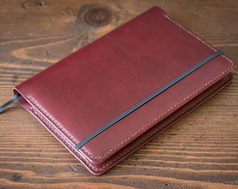Rhodia Webnotebook A5 Notebook cover - burgundy bridle leather