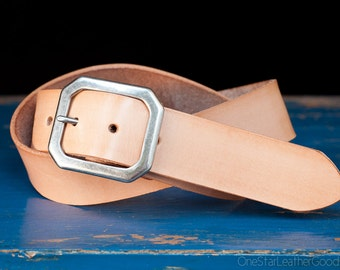 "Custom sized belt - 1.5"" width - natural veg leather - center bar buckle"