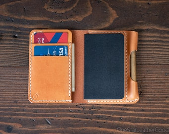"Small Notebook Wallet and Pen ""Park Sloper Junior"" for Fisher Space Pen Bullet - tan bridle leather"