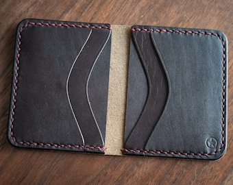 6 Pocket Horizontal wallet, Horween Chromexcel - brown / brown bridle / red stitching