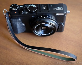 Camera Hand Strap for small cameras - black Horween shell cordovan