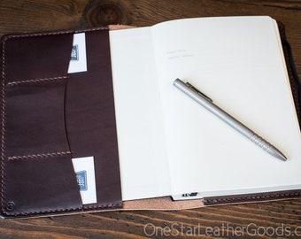 Leuchtturm 1917 Medium (A5) Hardcover Notebook cover + inside pockets - Horween crosshatch textured leather
