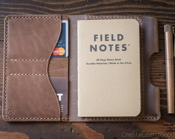 "Field Notes wallet with pen sleeve ""Park Sloper Senior"" Horween Chromexcel leather - natural CXL"