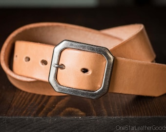 "Custom sized belt - 1.5"" width - 12 oz. tan harness leather - center bar buckle"
