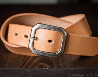 "Custom sized belt - 1.5"" width - THICK 12 oz. tan harness leather - center bar buckle"