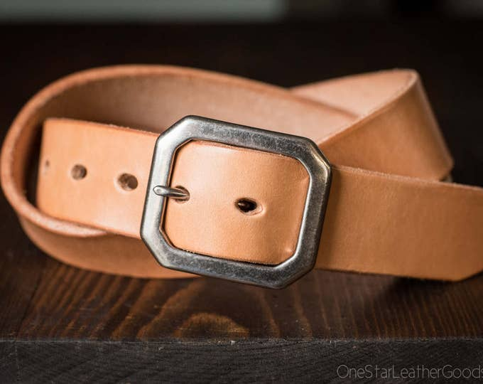 "Custom sized belt - 1.5"" width - tan harness leather - center bar buckle"