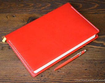 "Leather wrap cover for Baron Fig Confidant ""Plus"" size (7""x10""), includes notebook - bright red / natural stitch"