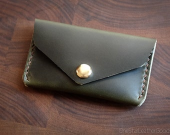 Coin pouch / wallet / business card case with snap, Horween Chromexcel leather - forest