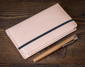 Leuchtturm 1917 Pocket (A6) hardcover notebook wrap cover, bridle leather - natural veg