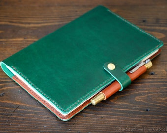 Hobonichi Cousin planner (fits other A5 notebooks) cover + snap + pen loop, leather journal cover, Horween Chromexcel leather - green