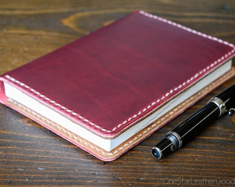 Leather cover for A6 sized softcover notebooks - Hobonichi, Midori, Muji, Apica & more - red / textured tan