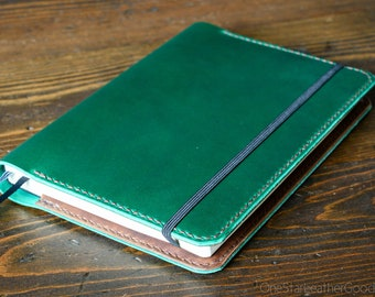 Leuchtturm 1917 Medium (A5) Hardcover Notebook cover - Horween green Chromexcel / brown