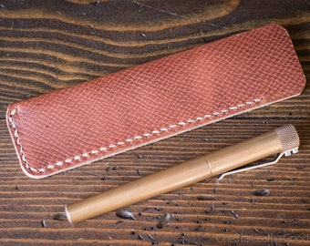 Pen Sleeve size large - hand stitched Horween leather - crosshatch