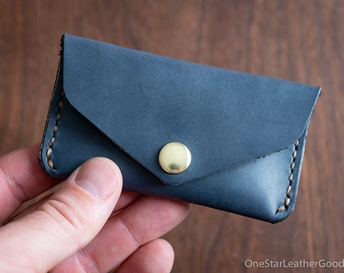 Coin pouch / wallet / business card case, Horween leather - slate blue