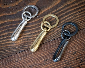 Key ring and pocket hook, Japanese made - brass, matte nickel, black