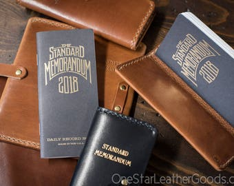 "Leather cover for ""The Standard Memorandum"" 2019 daily record book / calendar (includes book)"