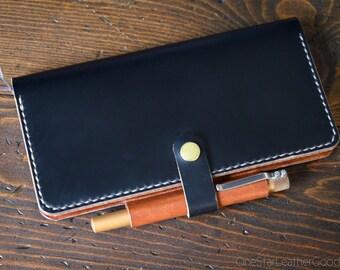 Cover for Hobonichi Weeks + pen loop, snap and card pockets - black / chestnut