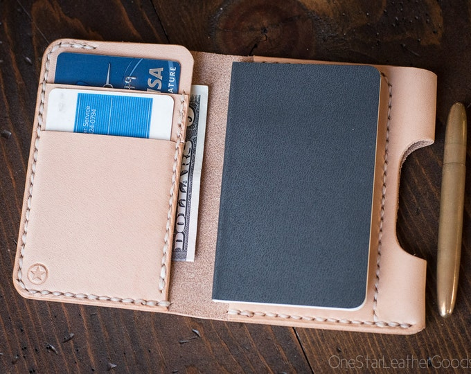 """Small notebook wallet and pen """"Park Sloper Junior"""" for Fisher Space Pen Bullet - natural veg tanned leather"""