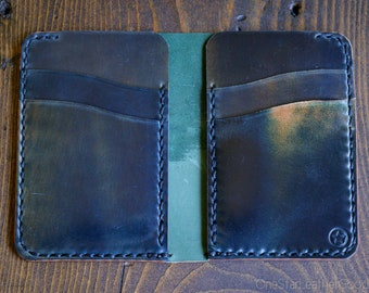 6 Pocket Vertical wallet - Horween Marbled shell cordovan, black stitch
