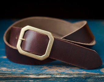 "Custom sized belt - 1.5"" width, Horween Chromexcel leather, center bar buckle - brown"