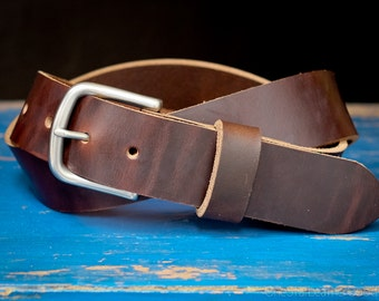 "Custom sized belt - 1.5"" width, Horween Chromexcel leather, heel bar buckle - dark brown"