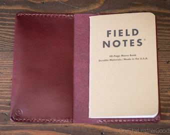 "Simple leather notebook cover for Field Notes or other 3.5""x5.5"" notebook - burgundy bridle leather"
