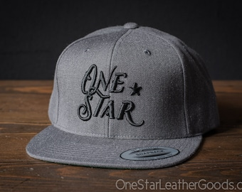 One Star Leather Goods Hat - 3D puff embroidered - grey / black