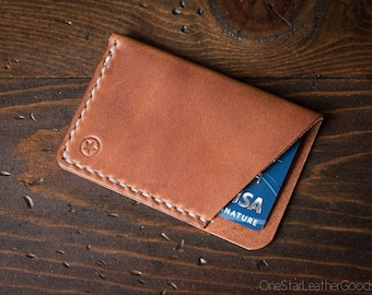 The Minimalist: micro card wallet - chestnut harness leather
