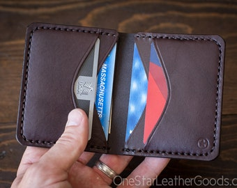 6 Pocket Horizontal Leather Wallet - brown bridle leather