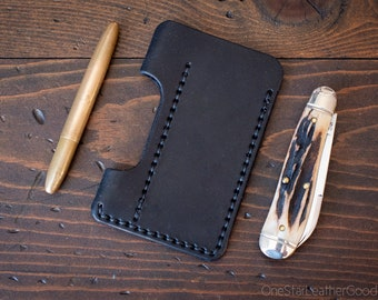EDC-1, every day carry pocket knife and pen case, small size, for FisherSpacePen or Kaweco Liliput - black bridle leather