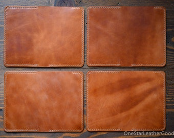 """One-of-a-kind - Notebook cover for Field Notes and other 3.5 x 5.5"""" notebooks, hand stitched leather - chestnut harness leather"""