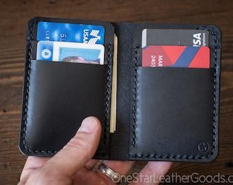6 Pocket Vertical Leather Wallet - black bridle leather