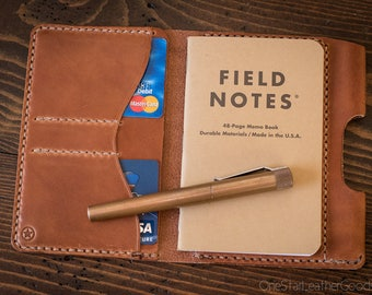 "Field Notes wallet with pen sleeve ""Park Sloper Senior"" harness leather - chestnut"