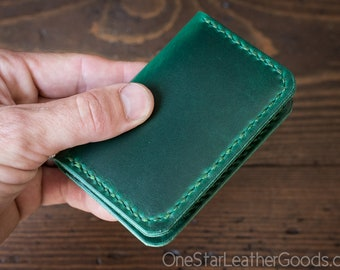 Two Pocket Card Wallet - Horween Chromexcel leather - bright green