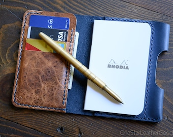"Notebook/wallet/pen, ""Park Sloper Medium"" - Horween leather - slate blue / textured chestnut"