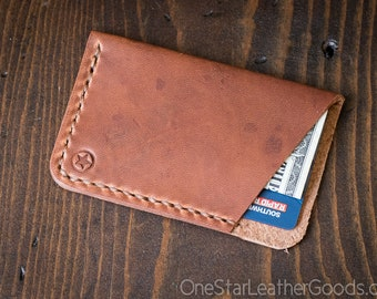 The Minimalist: micro card wallet - Horween Dublin leather - chestnut