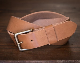"Custom sized belt - 1.25"" width - heel bar buckle - tan harness leather"