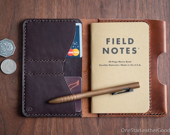 "Field Notes wallet with pen sleeve ""Park Sloper Senior"" Horween leather - chestnut / brown"