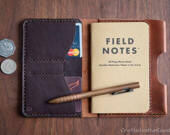 "Field Notes wallet with pen sleeve ""Park Sloper Senior"" Horween leather - chestnut / brown"