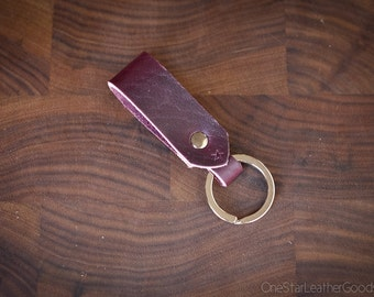 Key fob & keyring ring - Horween Chromexcel leather - plum