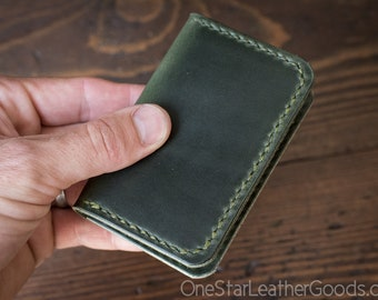 Two Pocket Card Wallet - Horween Chromexcel leather - forest green