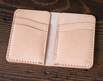 6 Pocket Vertical Leather Wallet - natural undyed leather