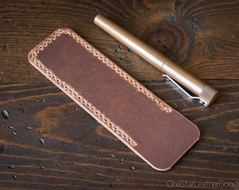 Pen Sleeve size large - hand stitched Horween Dublin leather - natural color