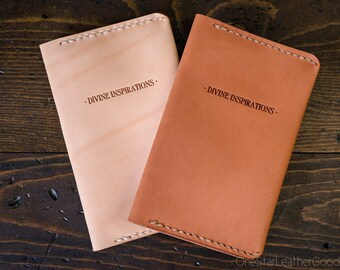 Divine Inspirations leather notebook cover, inspirational quote for Field Notes and other pocket notebooks - oak or chestnut