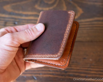 6 Pocket Horizontal Leather Wallet, Horween leather - brown Dublin / chestnut