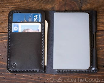 "Small Notebook Wallet and Pen ""Park Sloper Junior"" - black bridle leather"