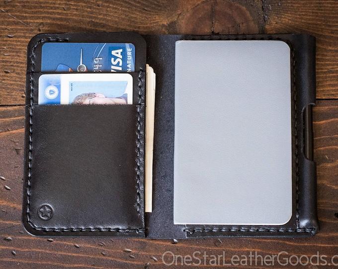 "Small Notebook Wallet and Pen ""Park Sloper Junior"" - black bridle leather"