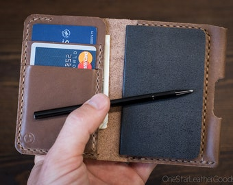 "Small Notebook Wallet and Pen ""Park Sloper Junior"" Horween Chromexcel Leather - natural"