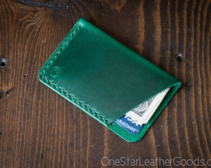 The Minimalist: micro card wallet - Horween Chromexcel leather - bright green
