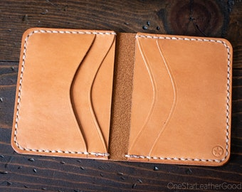 6 Pocket Horizontal compact wallet - tan bridle leather